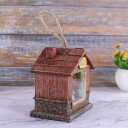 Kids LED Night Stand Light Brown House Battery Wall Hanging Lamp with Resin Shade