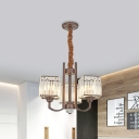 Cuboid Dining Table Pendant Lamp Modern Style Crystal 3/6 Heads Coffee Chandelier Light Fixture