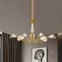 Gold Curved Arm Hanging Chandelier Modernist Metal 6-Bulb Dining Room LED Pendant Light