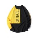 Popular Mens Letter Guecl Print Patchwork Long Sleeve Crew Neck Oversize Pullover Sweatshirt