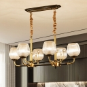 6 Heads Dining Room Island Pendant Light Postmodern Black and Gold Hanging Lamp with Cup-Shape Latticed Glass Shade