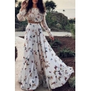 Womens Boho Allover Butterfly Pattern Long Sleeve Off the Shoulder Ruffled Relaxed Crop Top & Maxi Flowy Pleated Skirt Set in White