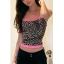 Sexy Womens Leopard Printed Lace Trimmed Spaghetti Straps Slim Fitted Cropped Cami Top in Brown