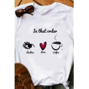 In That Order Letter Cartoon Eye Heart Coffee Graphic Rolled Short Sleeve Crew Neck Fitted Stylish T-shirt in White