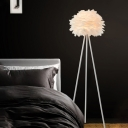 White Finish Tripod Floor Standing Light Contemporary 1 Bulb Metal Stand Up Lamp with Feather Deco