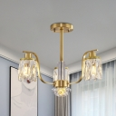 3 Heads Pendant Light Kit with Cylinder Shade Crystal Block Postmodern Dining Room Chandelier Lamp in Gold
