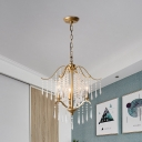 Crystal Drip Raindrop Chandelier Light Traditional 3/4-Bulb Dining Room Candelabra Suspension Lamp in Gold