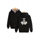 Leisure Sherpa Liner Cartoon Dog Printed Long Sleeve Zipper Front Relaxed Fit Hoodie for Men