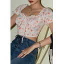 Ditsy Floral Pattern Puff Sleeve Sweetheart Neck Stringy Selvedge Bow Tie Front Slim Fitted Stylish T-shirt in Pink