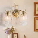 Branch Bedroom Wall Mount Light Traditional Crystal Drip 2-Light Gold Finish Wall Lamp Fixture
