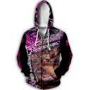 Stylish Mens Letter Country Girl 3D Cartoon Graphic Drawstring Long Sleeve Zipper Front Relaxed Hoodie