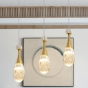 Gold Teardrop Multi Ceiling Light Minimal 3 Heads Clear Crystal Glass Pendant Lamp with Chrome Canopy