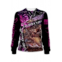 Trendy Mens 3D Cartoon Letter Country Girl Graphic Long Sleeve Crew Neck Loose Pullover Sweatshirt