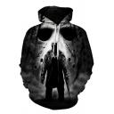 Mens Leisure Skull 3D Printed Pocket Drawstring Full Sleeve Relaxed Fit Hoodie
