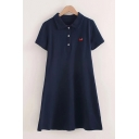 Trendy Womens Cherry Embroidered Short Sleeve Point Collar Button up Short A-line Polo Shirt Dress in Navy