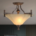 Amber Glass Coffee Semi Flush Mount Conic Shade 3 Heads Vintage Ceiling Lamp Fixture