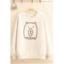 Leisure Letter Friend Bear Graphic Sherpa Liner Long Sleeve Crew Neck Relaxed Pullover Sweatshirt for Women