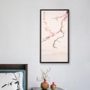 Peach Flower and Bird Mural Light Fixture Asian Iron Black 18