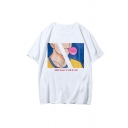 Popular Mens Character Letter Youth Is Not a Time of Life Printed Short Sleeve Round Neck Regular Fit T-Shirt in White