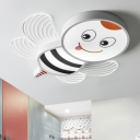 Cartoon Honeybee Acrylic Flush Light LED Flushmount Ceiling Lamp in Blue/Pink/White for Kids Room