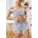 Pretty Girls Polka Dot Printed Ruffled Off the Shoulder Drawstring Waist Fitted Crop Top in White