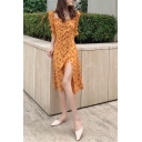Chic Womens Allover Floral Printed Puff Sleeve Square Neck Bow Tied Slit Mid A-line Dress in Orange