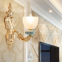 Handmade White Glass Bell Wall Light Traditional Single-Bulb Sitting Room Sconce in Gold