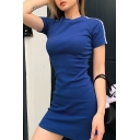Stylish Girls Tape Panel Knit Short Sleeve Crew Neck Mini Sheath T Shirt Dress
