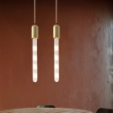 Flute Dining Table Suspension Lamp Clear Glass 1-Light Minimalist Hanging Light Fixture in Gold