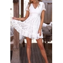 Fancy Womens Sheer Lace Short Sleeve V-neck Ruffled Trim Mini Pleated A-line Dress in White