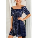 Pretty Womens Polka Dot Printed Short Sleeve Off the Shoulder Button up Mini A-line Dress in Dark Blue