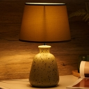 Green Single Bulb Nightstand Light Traditional Ceramics Wine Can Table Lamp with Barrel Fabric Shade
