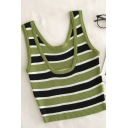 Unique Womens Striped Scoop Neck Sleeveless Slim Fit Tank Top