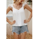 Elegant Womens Lace Trimmed Sleeveless Sweetheart Neck Relaxed Tank Top in White