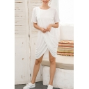 Leisure Womens Short Sleeve Round Neck Ruched Patched Short Shift T Shirt Dress in White