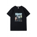 Letter Wanted Cartoon Graphic Short Sleeve Crew Neck Loose Fit Hip Hop Tee Top for Boys