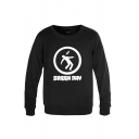 Street Boys Letter Green Day Cartoon Graphic Long Sleeve Round Neck Relaxed Pullover Sweatshirt