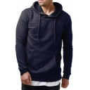 Basic Solid Color Long Sleeve Drawstring Kangaroo Pocket Relaxed Hoodie for Guys