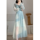 Stylish Solid Color See-through Mesh Sequined Blouson Sleeve Sweetheart Neck Maxi Pleated A-line Dress for Girls