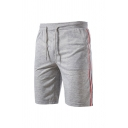 Mens Leisure Color Block Striped Pattern Drawstring Pockets Knee Length Straight Fit Shorts