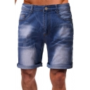 Mens Trendy Zip-fly Distressed Turn-up Cuffs Medium Wash over the Knee Regular Fit Denim Shorts with Pockets