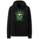 Cozy Mens Skull Virus Pattern Pocket Drawstring Long Sleeve Regular Fit Hooded Sweatshirt