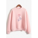Abstract Flower Print Long Sleeve Mock Neck Loose Fit Pullover Fashionable Sweatshirt for Women