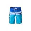 Fancy Men's Color Block Striped Printed Drawstring Knee Length Fitted Shorts with Pocket