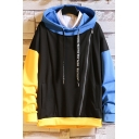 Popular Mens Colorblock Letter Winged Foot Tide Printed Zipper Front Pocket Drawstring Long Sleeve Relaxed Fitted Hooded Sweatshirt