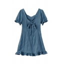 Fancy Girls Solid Color Pleated Tied Cut Out Backless Ruffle Trim Sweetheart Neck Short Puff Sleeve Short Smock Dress