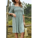 Pretty Womens Ditsy Floral Print Short Sleeve Square Neck Pintuck Midi Pleated A-line Dress in Green