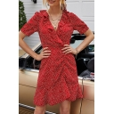 Pretty Womens Polka Dot Print Short Sleeve Ruffled Trim Surplice Neck Ruched Short A-line Dress in Red
