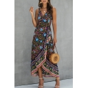 Holiday Allover Floral Printed Ruffled Bow Tied Waist Mid A-line Wrap Slip Dress in Navy