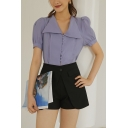 Vintage Girls Solid Color Pleated Button Detail V Neck Short Puff Sleeve Regular Fit Shirt in Purple